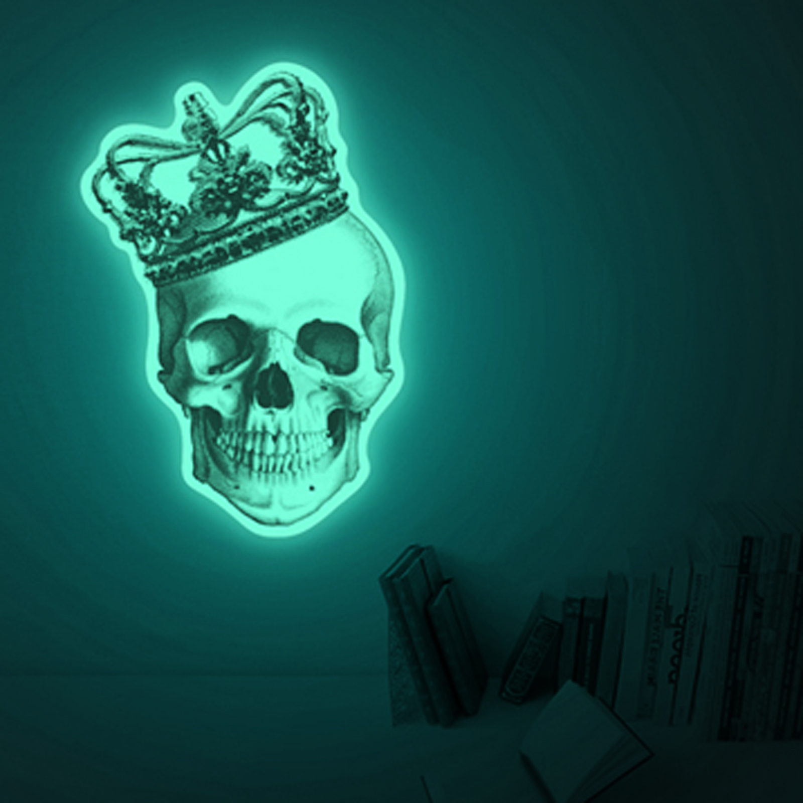 Click to view product details and reviews for Giant Skull Glow Sticker.