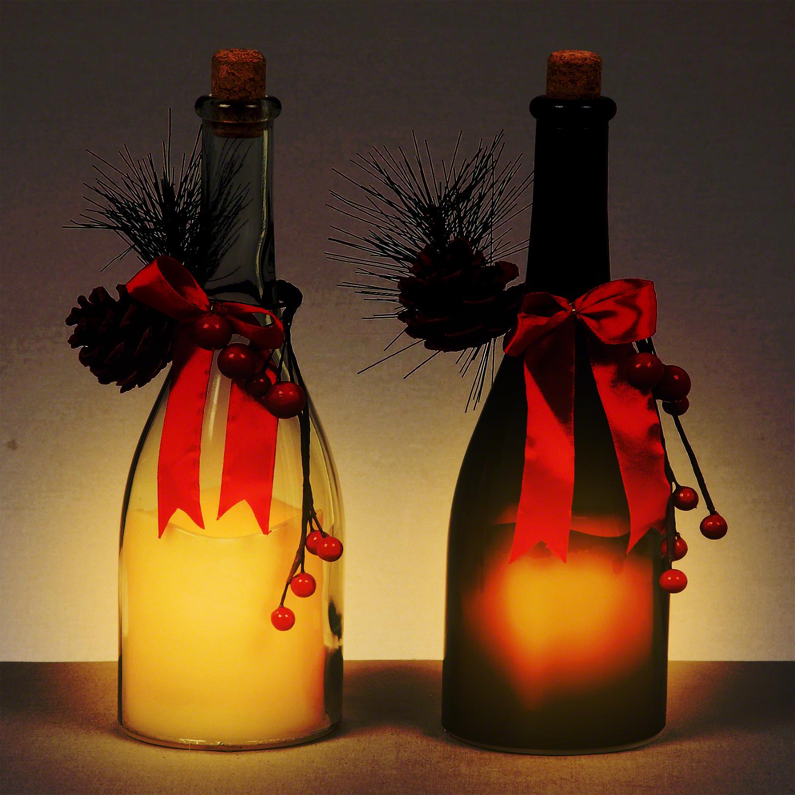 LED Glass Candle Bottle (Single)