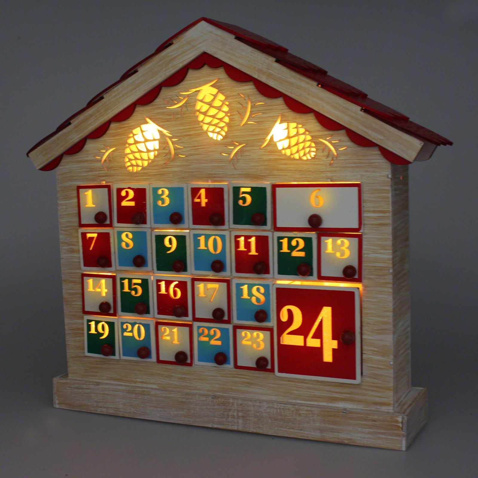 LED Wooden Advent Calendar House