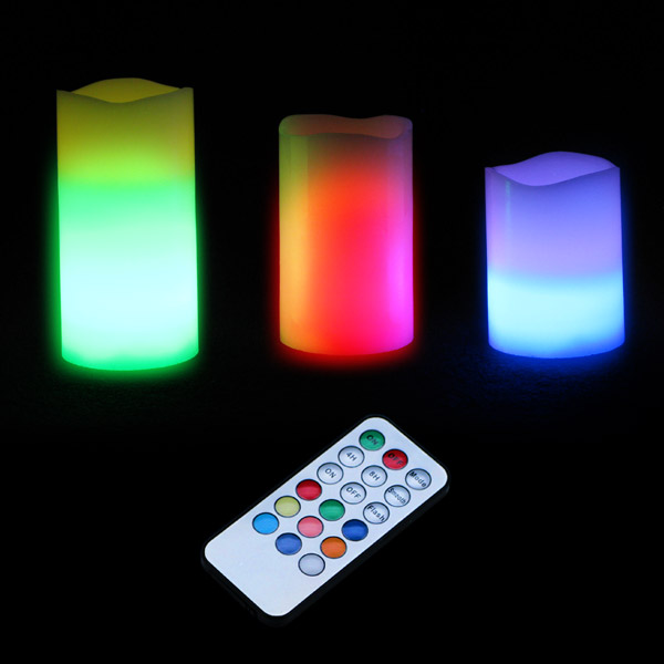 Click to view product details and reviews for Remote Led Colour Change Candles Set Of 3.