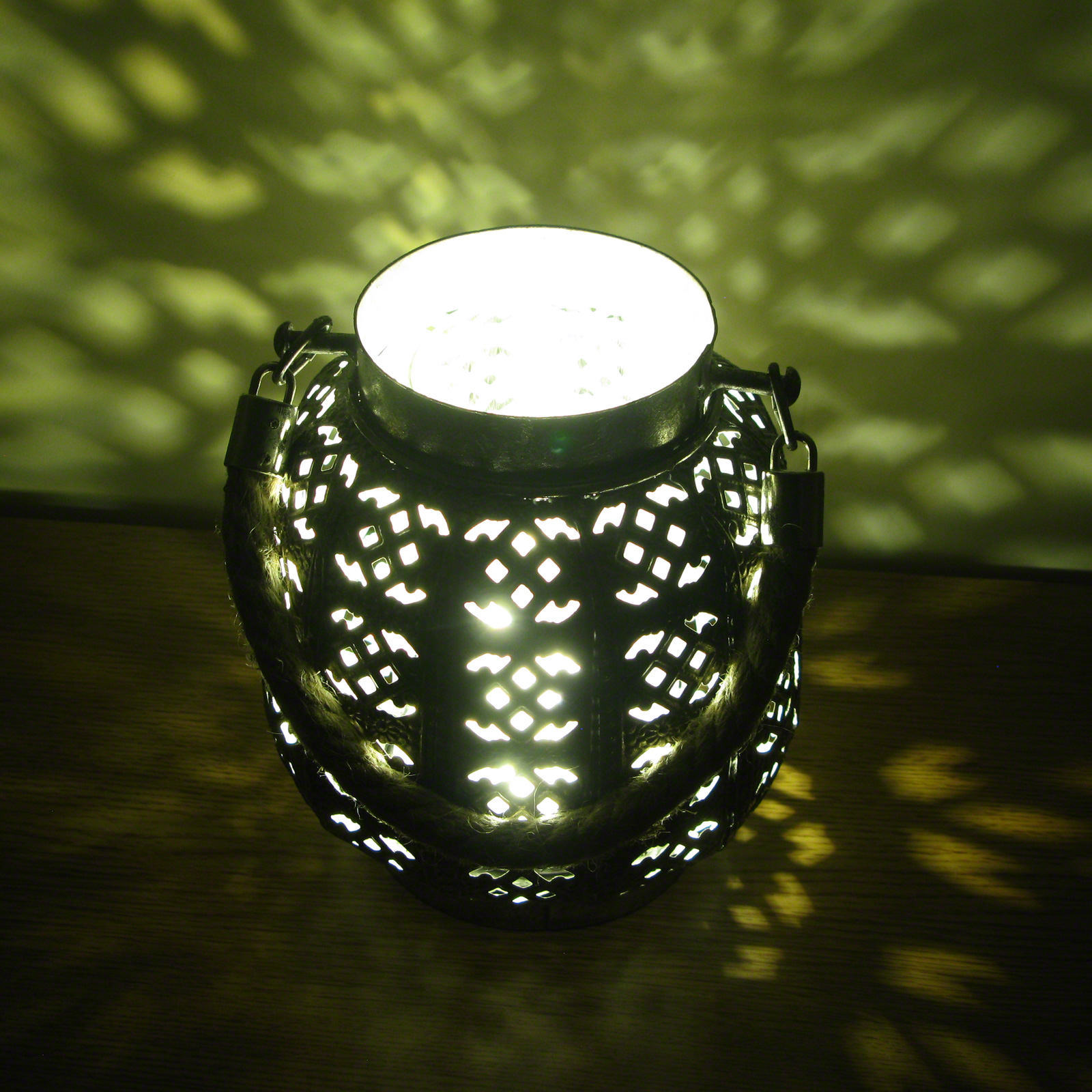 Click to view product details and reviews for 18cm Filigree Hessian Lantern.