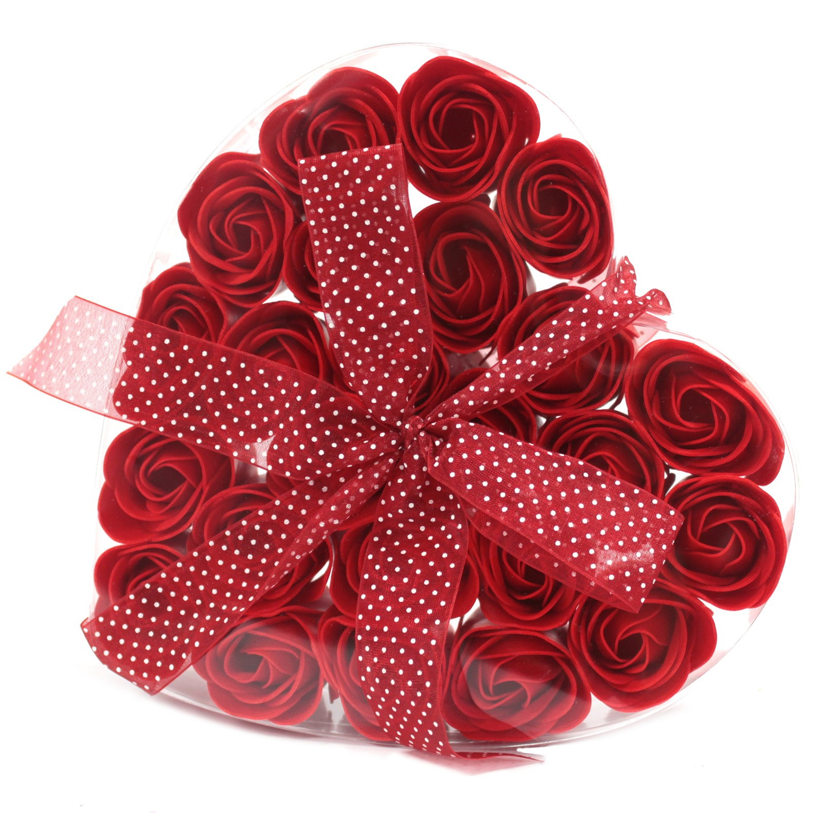 Click to view product details and reviews for 24 Red Rose Soap Flowers In Heart Box.