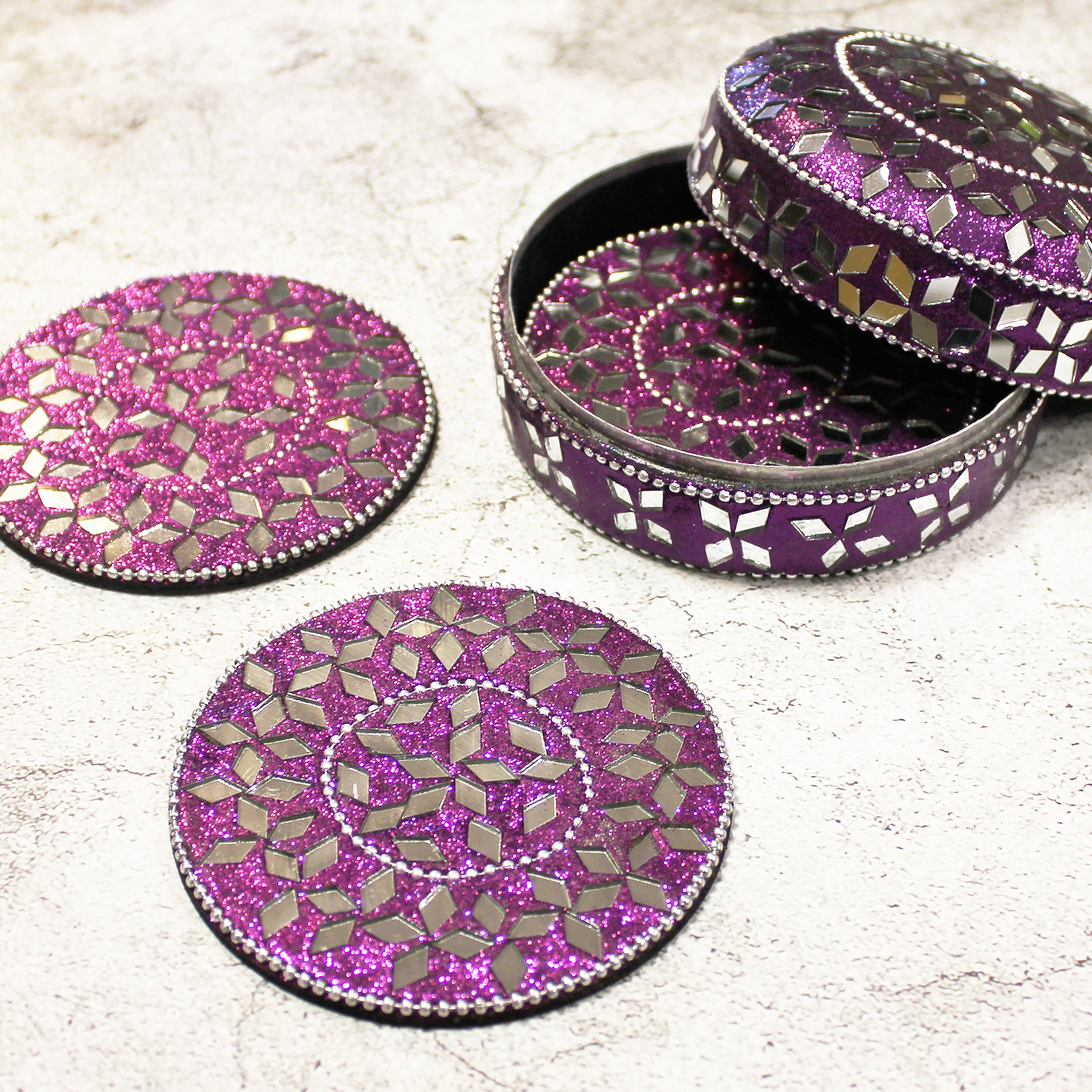 Click to view product details and reviews for Glitter Coasters In Tin 4 Pack.