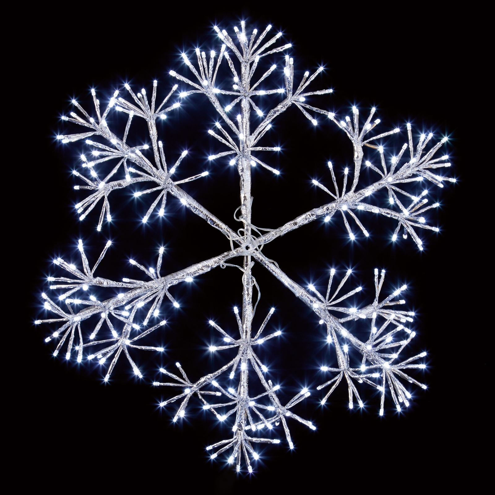 Click to view product details and reviews for 60cm Silver Starburst Snowflake Decoration.