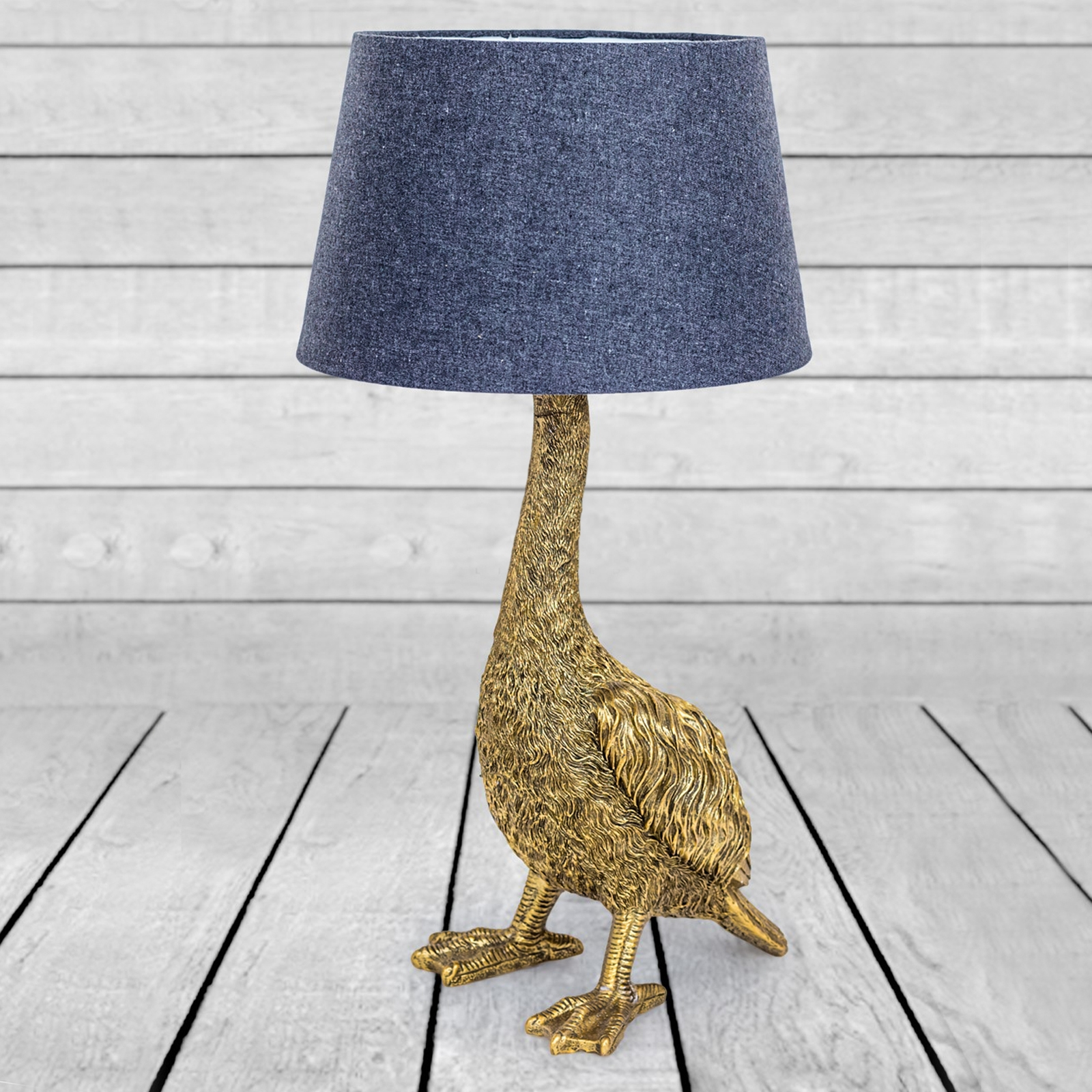 Click to view product details and reviews for Antique Gold Goose Table Lamp With Grey Shade.
