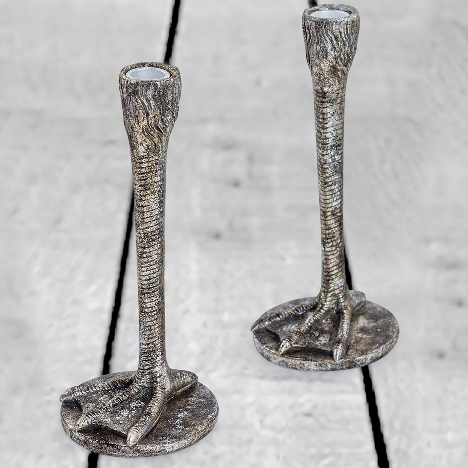 Pair Of Antique Silver Bird Leg Candlesticks