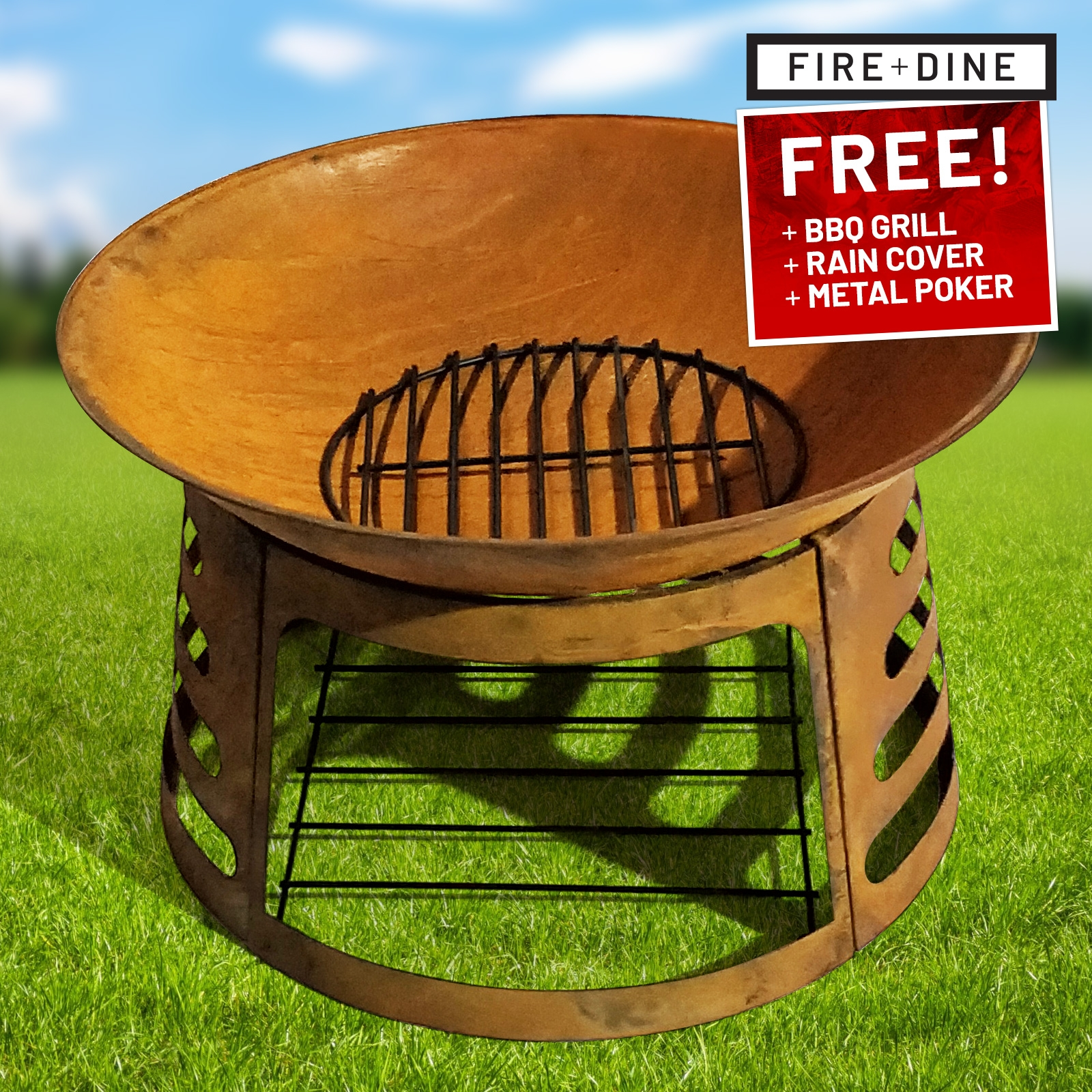 Click to view product details and reviews for Apollo Oxidised Fire Pit And Bbq Grill With Rain Cover By Fire And Dine.