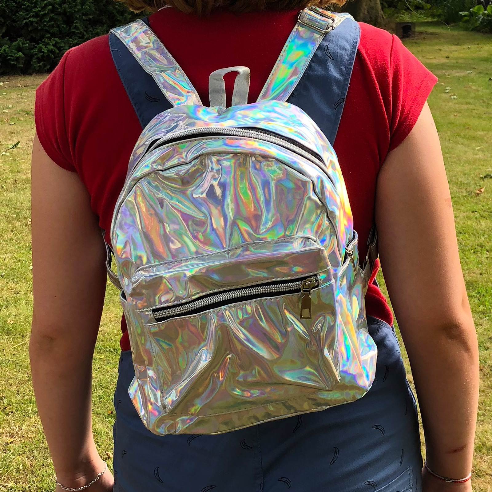 Click to view product details and reviews for Silver Holographic Back Pack.