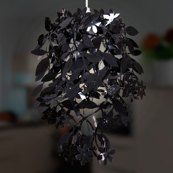 Click to view product details and reviews for Black Floral Pendant Lampshade 10391.