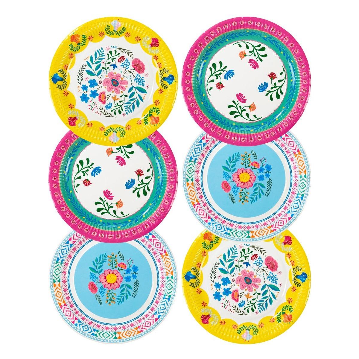 Boho Floral Paper Plates X 12