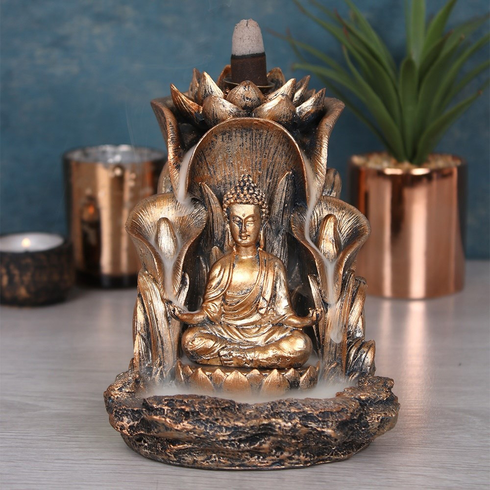 Bronze Finish Sitting Buddha Backflow Burner