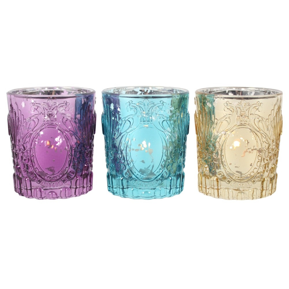Indian Styled Glass Tealight Holders 3 Pack
