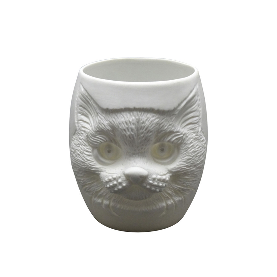 Click to view product details and reviews for Cat Face Porcelain Tealight Holder.