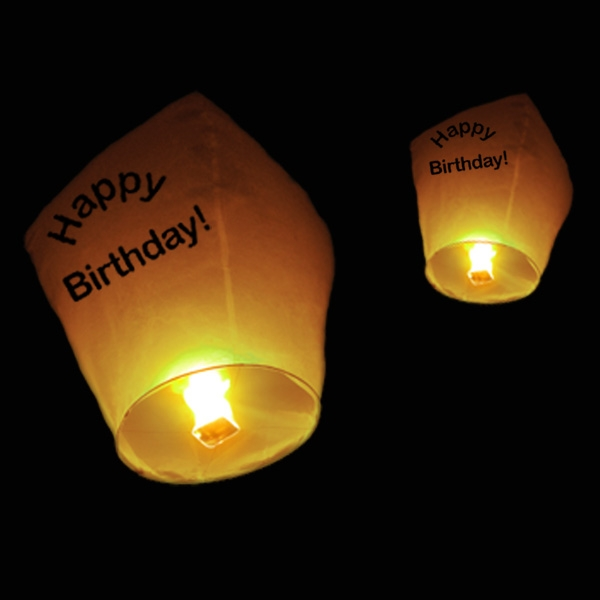 Chinese Flying Lanterns Happy Birthday 5 Pack