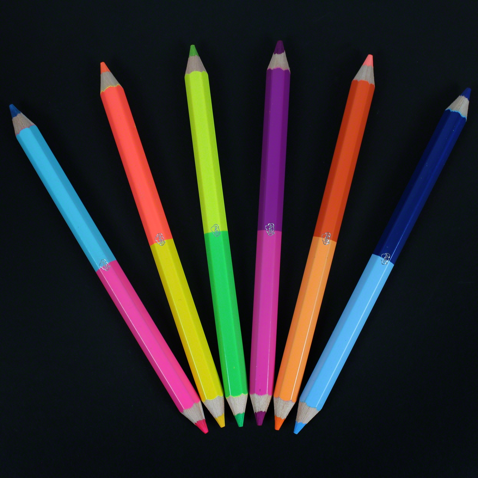 Chunky 50 50 Neon Pencils 6 Pack