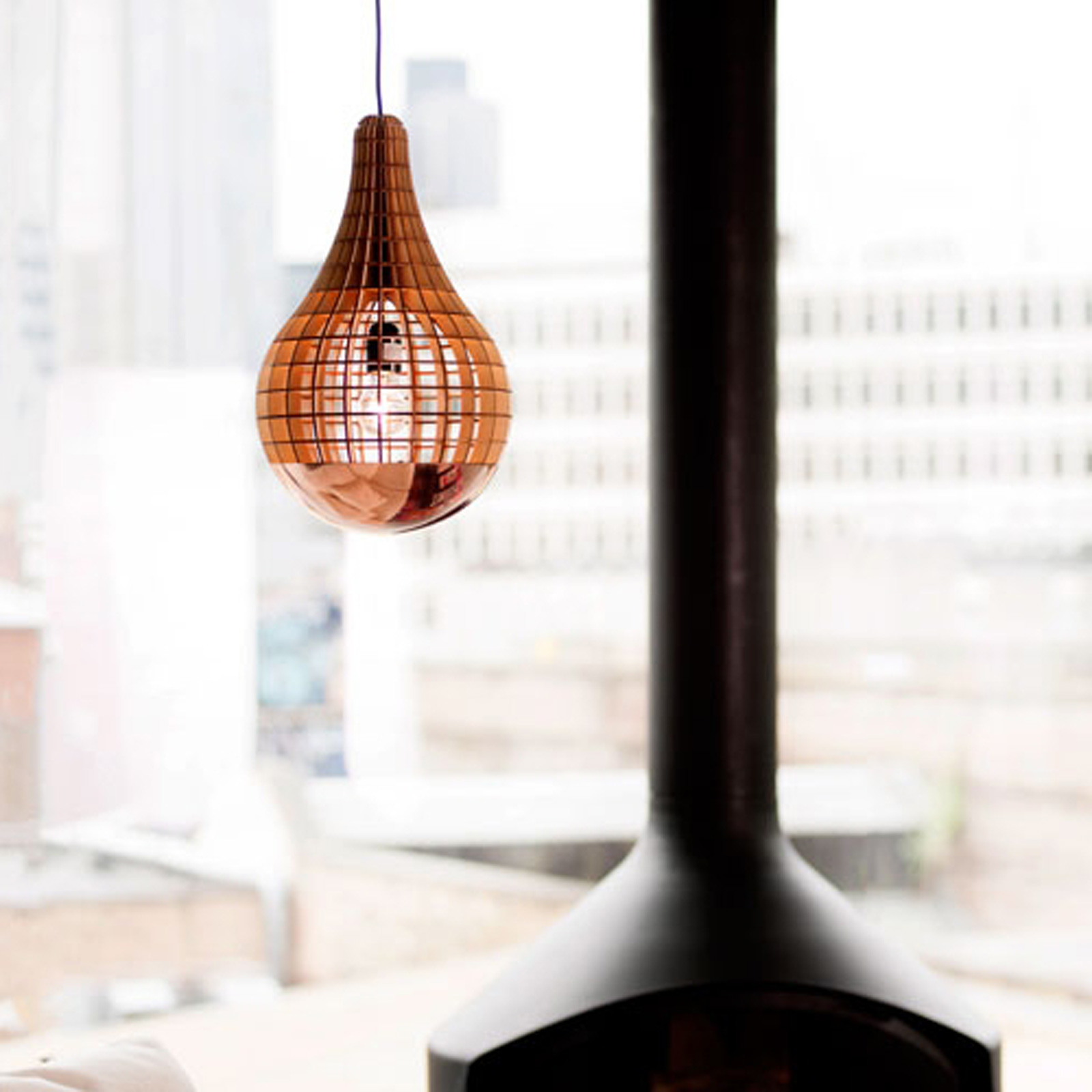 Aura Wooden Bulb With Copper Spinner