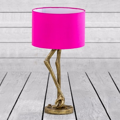 Vintage Gold Flamingo Leg Lamp With Pink Shade