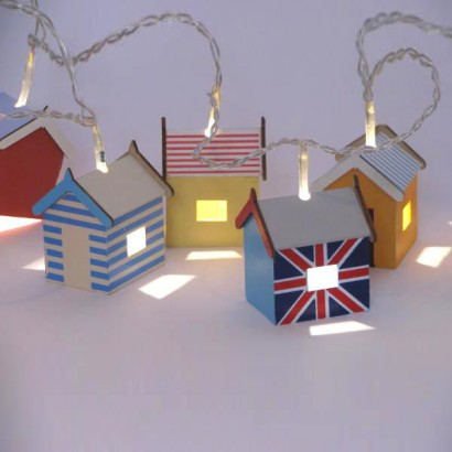 british seaside beach hut string lights