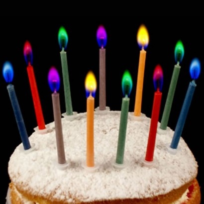 Colour Flame Birthday Candles (12 pack) & Colour Flame Birthday Cake Candles