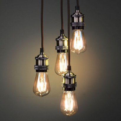 Create stunning vintage lighting effects with this antique brass quad pendant with four braided cords and vintage bulb holders read more