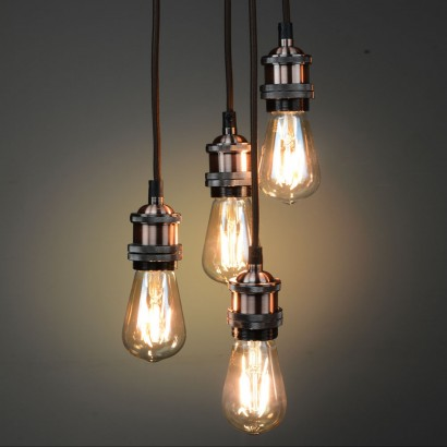 retro lighting. suspend four vintage filament bulbs to create a stunning retro lighting feature with this brushed copper quad pendant. read more. the glow company