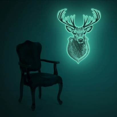 Extra large glow in the dark stag head wall decal measuring an impressive 63cm tall this striking stag wall decal glows in the dark too read more mozeypictures Gallery