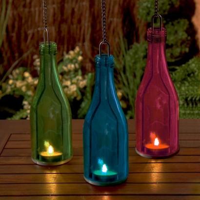 Outdoor Tea Light Holders Glass bottle tea light holder workwithnaturefo