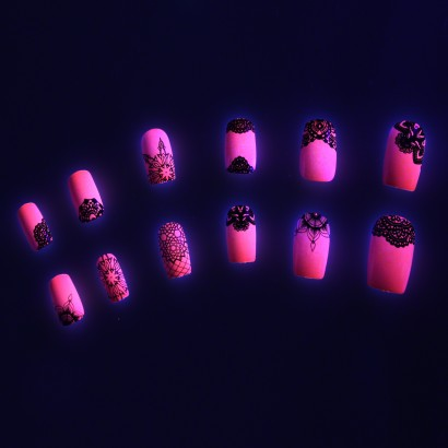 Glow in the Dark Pink False Nails
