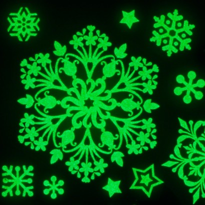 Glow snowflake window decorations for Christmas window decorations clearance