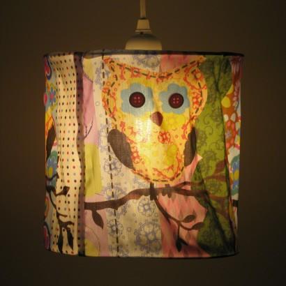 Vintage styled patchwork owl lampshade fabric owl lampshade 19033 aloadofball Choice Image
