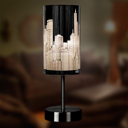 New york city skyline touch table lamp a fun and stylish table lamp the skyline touch table lamp features the new york city skyline that comes to life when you turn on the light mozeypictures Choice Image