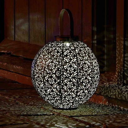 A Large Detailed Metal Solar Lantern That Projects Decorative Scrolling Shadows Transforming Your Garden Read More