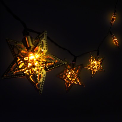 Solar Filigree Star String Lights