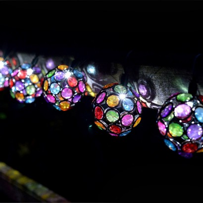 solar string lights. Unique Lights Solar Multi Glow Gem String Lights Throughout
