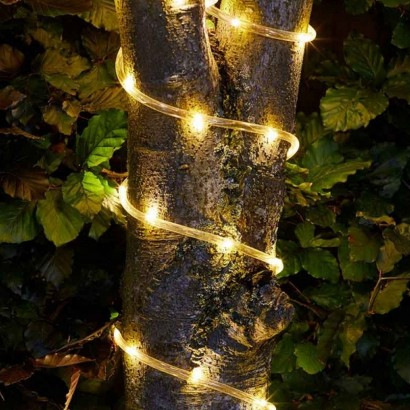 Warm white solar led rope light enjoy stunning warm white lighting in your garden with solar powered rope light with flash and static light functions read more aloadofball Image collections