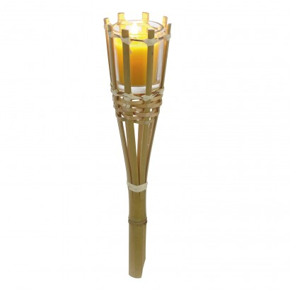 bamboo garden torch with citronella candle