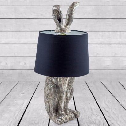 Vintage Silver Rabbit Ears Lamp With Black Shade