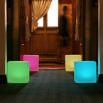 Light up cube seat a seat a table or simply a lighting installation the colour changing effects are both relaxing and aloadofball
