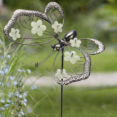 flutter glow butterfly dragonfly garden border stakes
