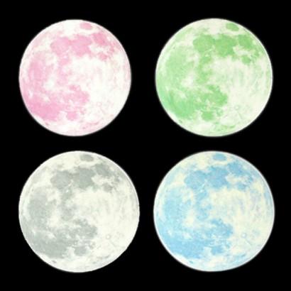 Clair De Lune Glow In The Dark Medium Moon Wall Sticker Pack