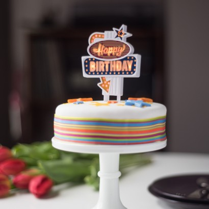 Happy Birthday Retro Cake Topper