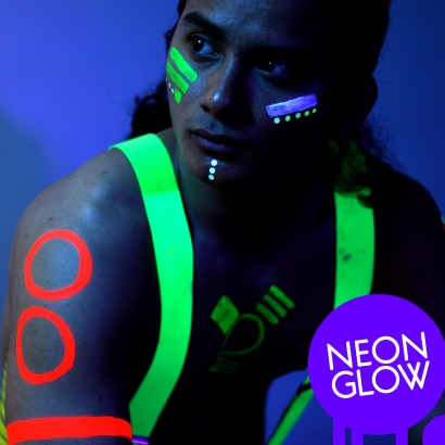UV reactive face   body paint in a range of great colours. These products  glow brightly under blacklight or UV light used in most clubs. Read more. df87440c9b