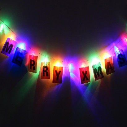 Multi Coloured Peg Fairy Lights