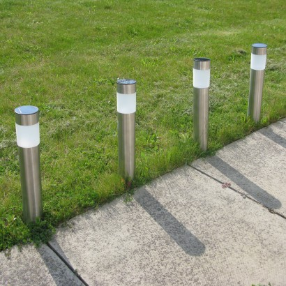 Solar powered multi function steel post lights sleek and stylish feature lighting for your garden this pack of four solar powered post lights can be set to colour change or static white depending upon aloadofball Images