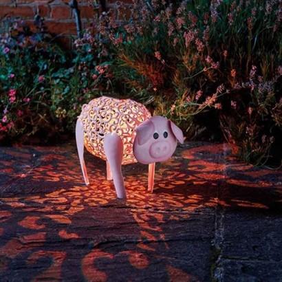 Solar Silhouette Delilah Pig Garden Decoration