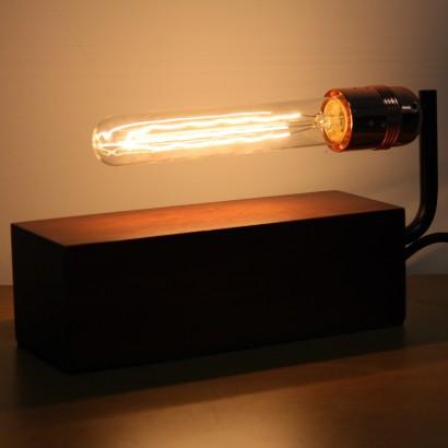 Vintage dark wood block table lamp wooden block with vintage tube bulb sold separately aloadofball Choice Image