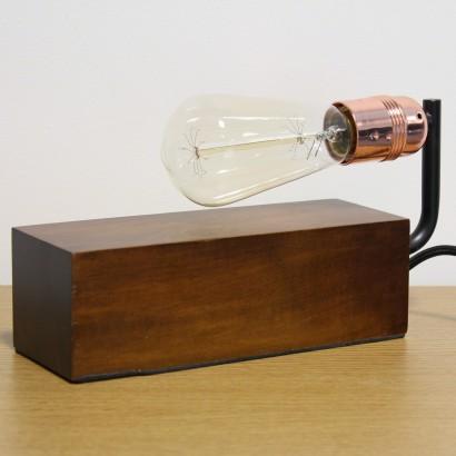 Vintage Dark Wood Block Table Lamp