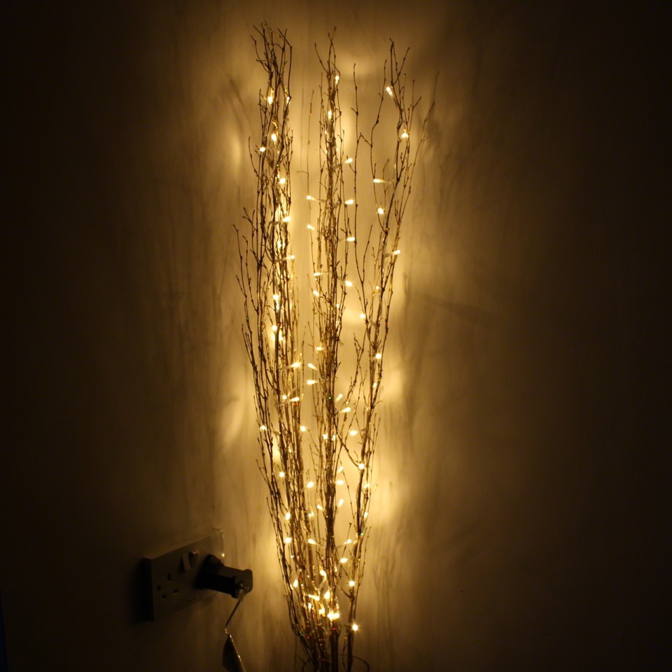 Gold 1.2M Holograph Glitter Twig Light