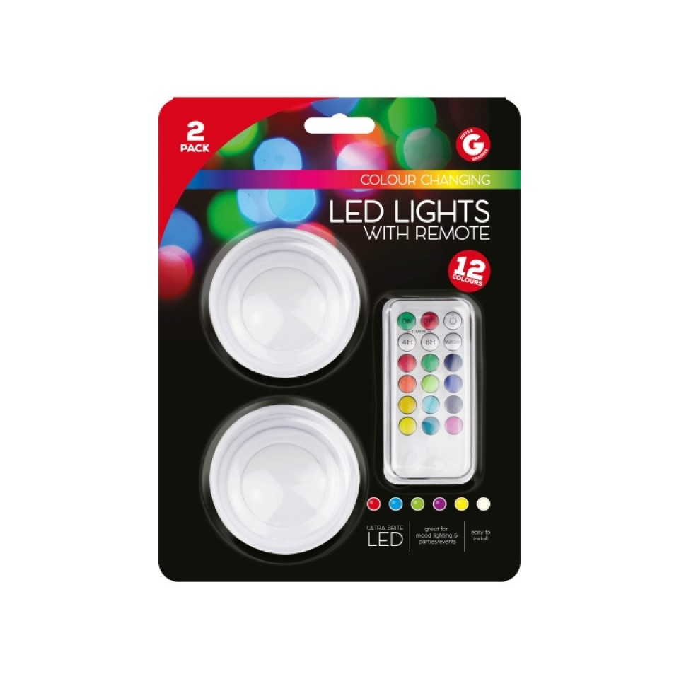2 x Colour Change LED Lights with Remote
