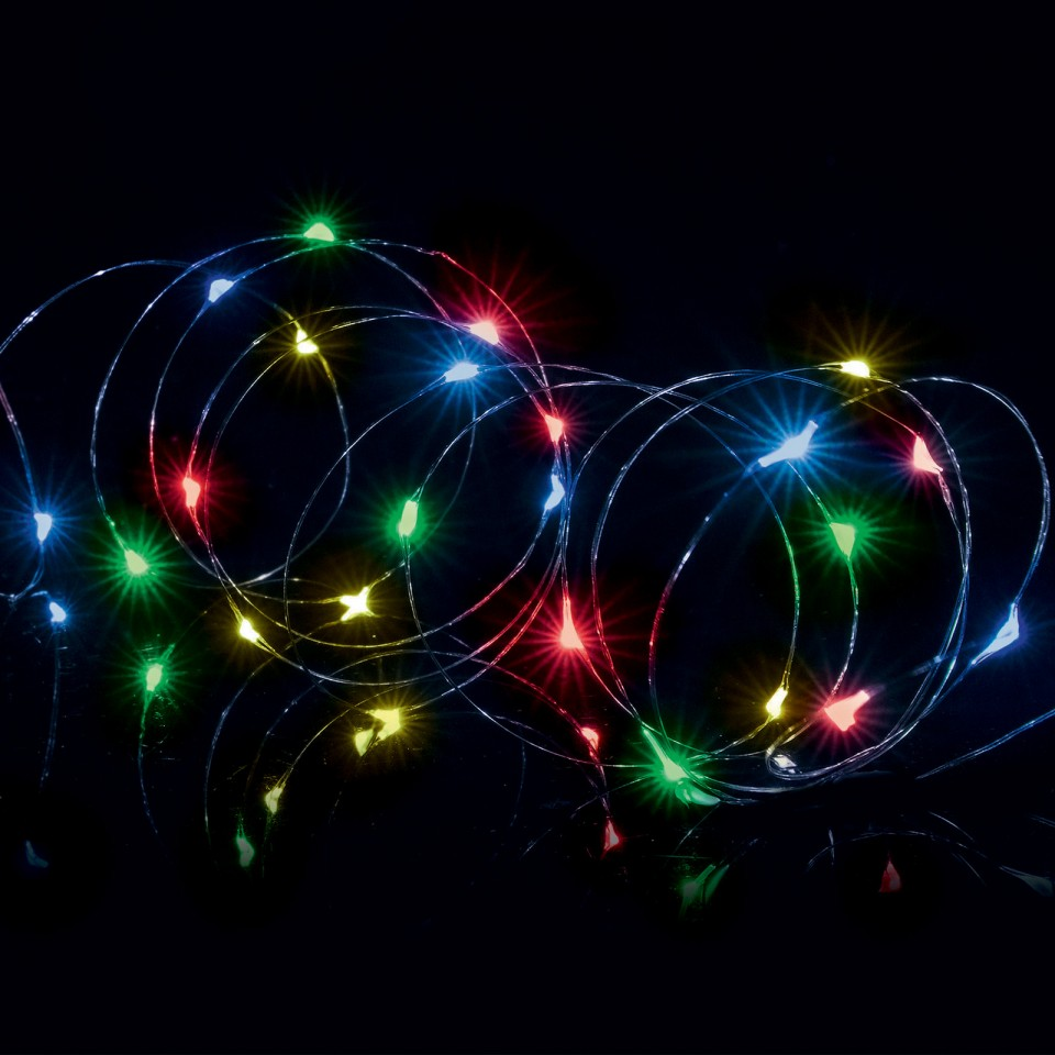 Multicoloured/Colour Change Battery Operated LED Pin Wire Time Lights